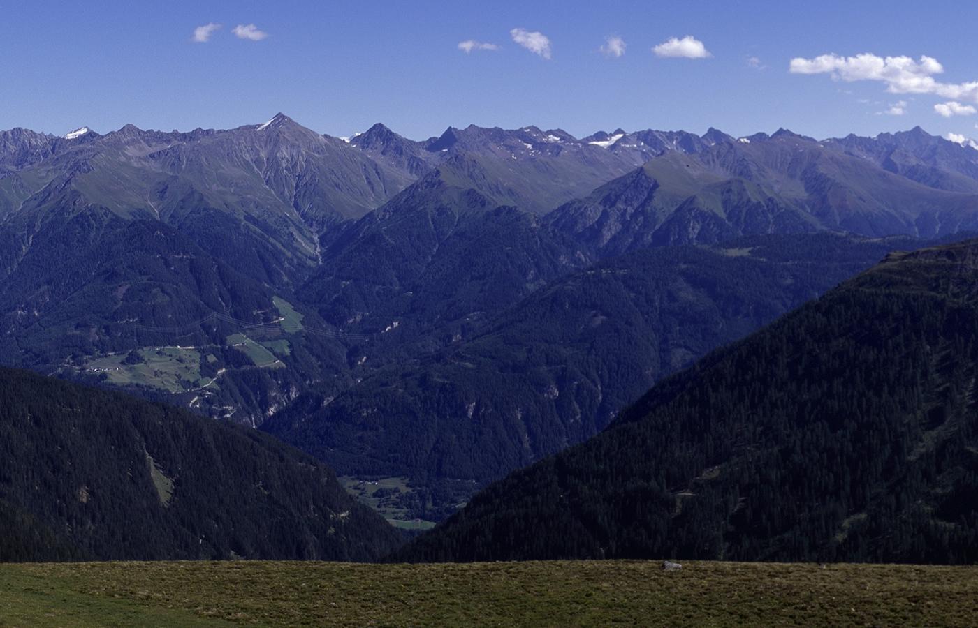 Bergkette in Serfaus-Fiss-Ladis. Wetterinfos.