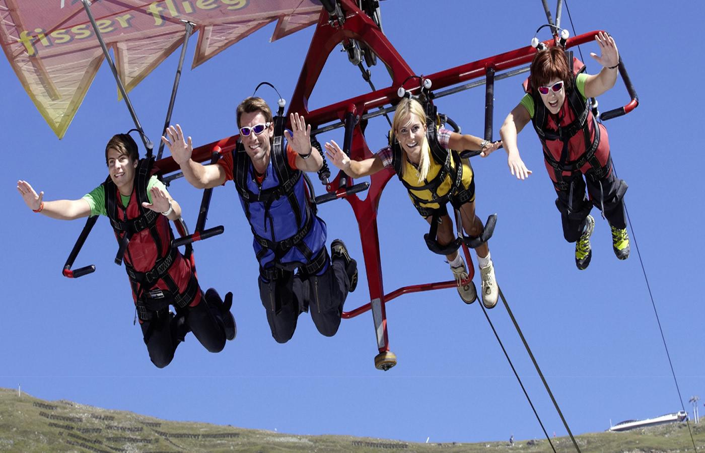 Der Fisser Flieger im Sommer-Funpark i Fiss, Tirol.
